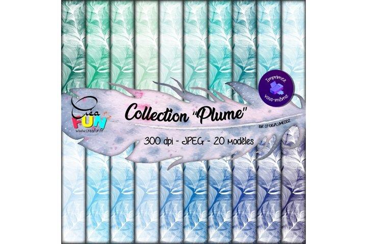 Lot de 20 papiers numériques - Collection Plume 02