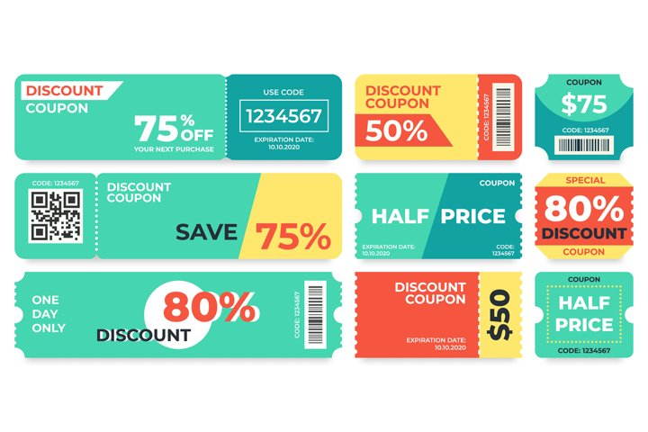 Discount coupon. Half price offer, promo code gift voucher a