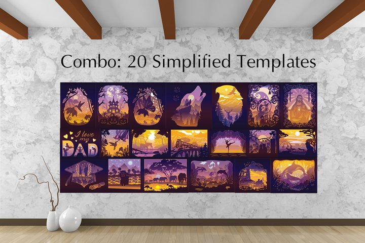 20 Simplified Templates 3D Paper Cut Light Box - Shadow box