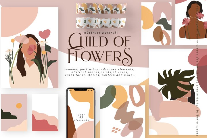Child Of Flowers abstract portrait