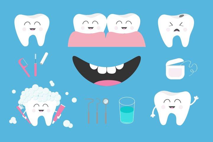 Tooth health icon set. Vector illustration