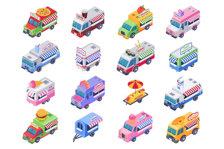 Isometric food trucks. Street carts, hot dog truck and outdo