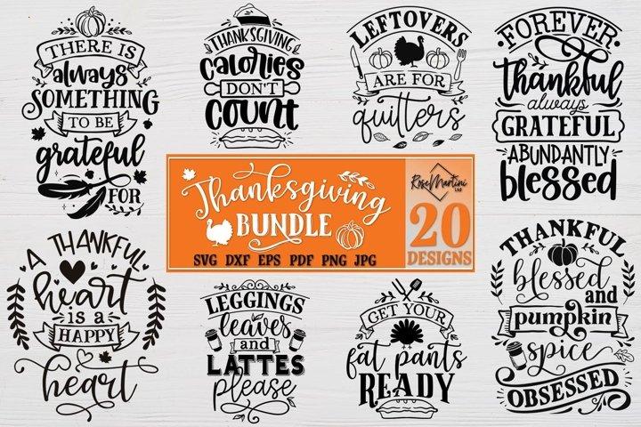 Thanksgiving Bundle Of 20 Designs SVG PNG Turkey Day