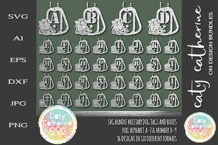 Military Bundle Dog Tags And Boots Full Alphabet Number Set