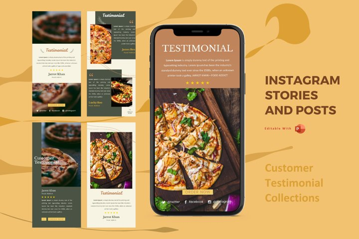 Instagram stories and posts powerpoint template - testimoni