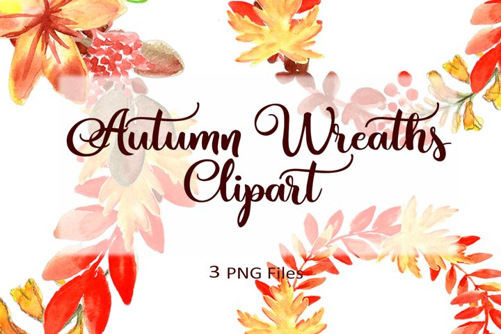 Watercolor Autumn Wreaths. Watercolor Set.