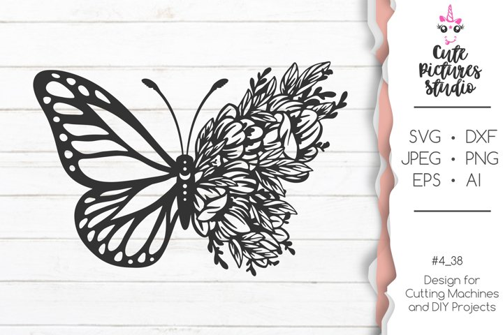 Flower butterfly SVG cut file, Floral butterfly svg dxf png