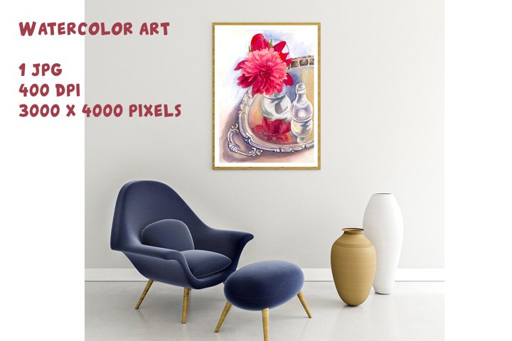 Peony Pink Watercolor Pretty peonies Greeting card template