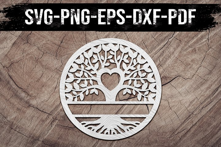 Customizable Family Tree Heart Paper Cut Template, SVG, DXF