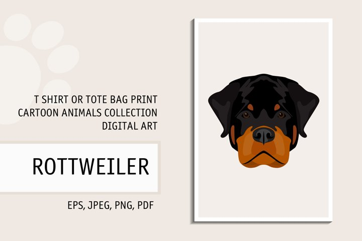 Rottweiler Dog. Digital Rottweiller Dog for T Shirt Print
