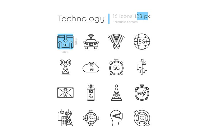 5G technology linear icons set