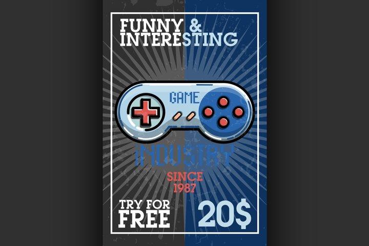 Color vintage game industry banner