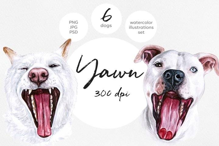 Watercolor set YAWN dog illustrations. 6 dogs. Sleep
