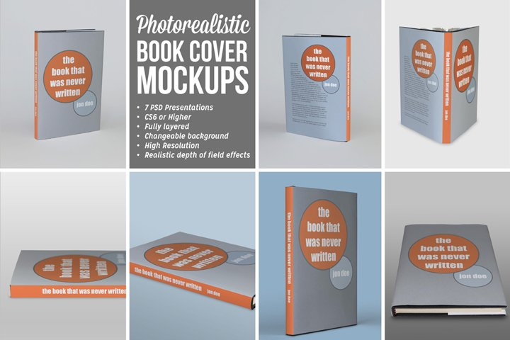 Photorealistic Book Covers Mockups | dust jacket edition
