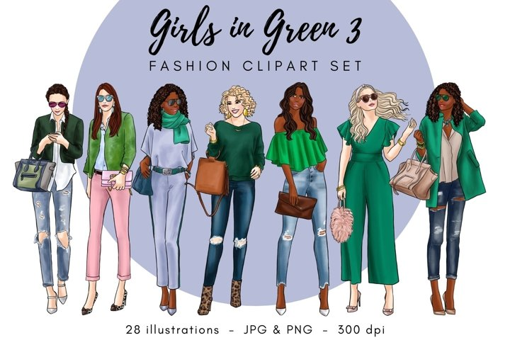 Girls in Green 3 Fashion Clipart Set- Light Skin & Dark Skin