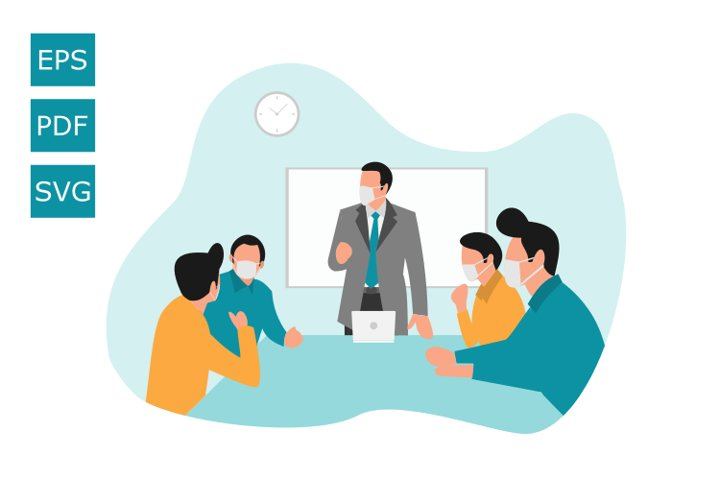 Flat Illustration Meeting Using a Mask