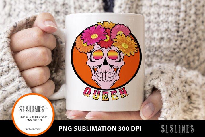 Queen Flower Skull PNG sublimation Pink & Orange