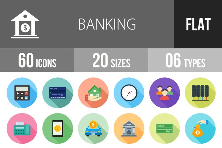 60 Banking Flat Long Shadow Icons Season II