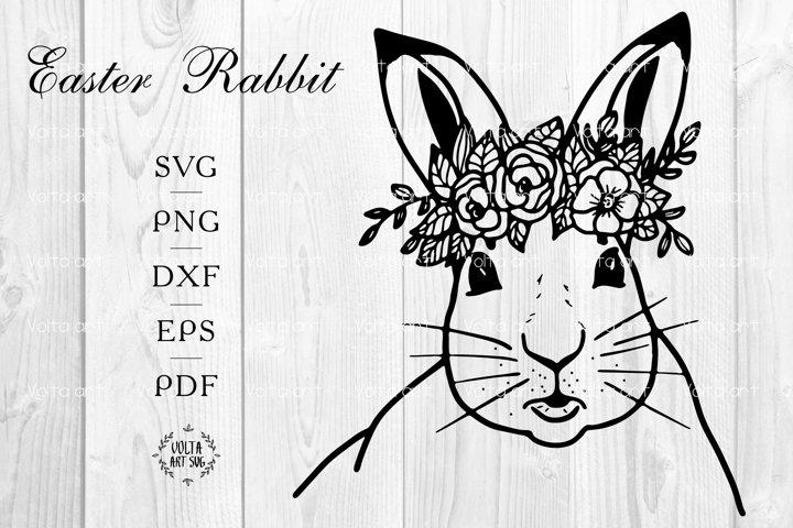 Rabbit with Flower Crown svg. Easter Rabbit svg. Animal face