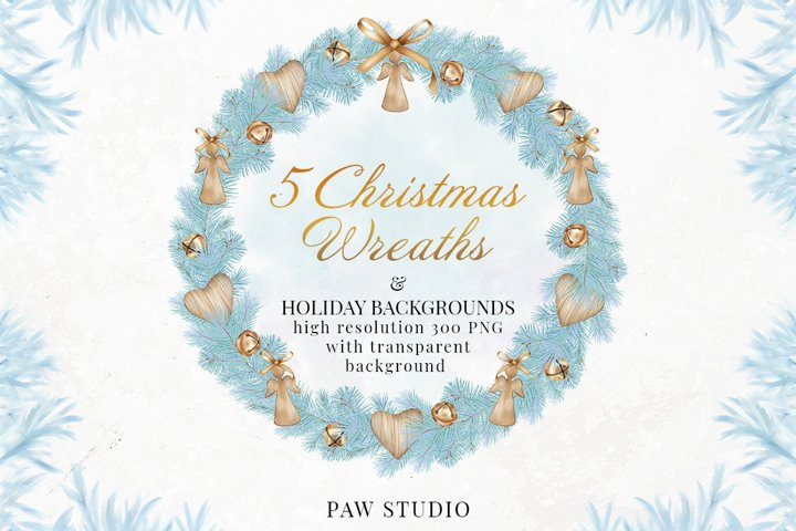 Christmas Wreath Clipart Winter Decorations Holiday Cards