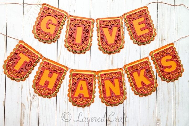 3D Give Thanks- Thanksgiving Layered Paper Craft Bundle