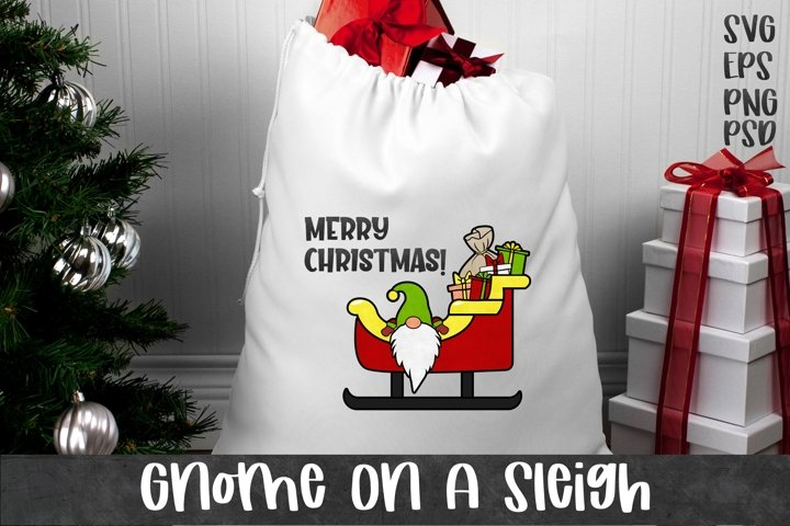 Gnome on a Sleigh | Christmas SVG PNG EPS example 1