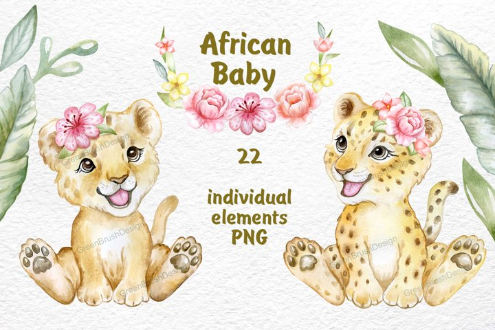 African Animals Clipart, Lion, Leopard, Baby Animals art