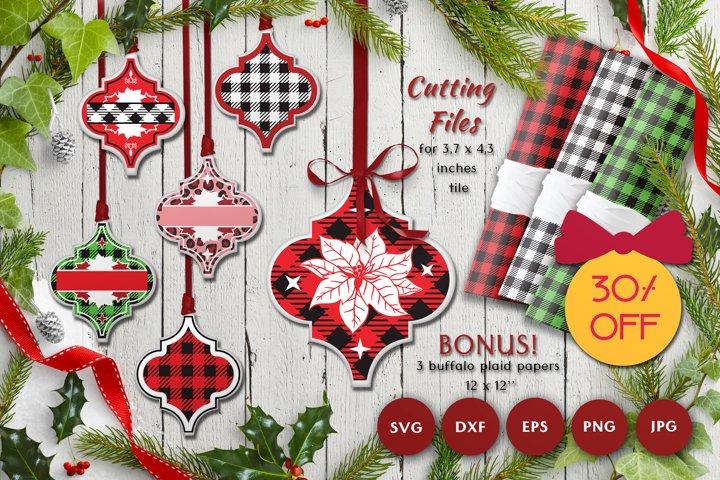 Christmas Arabesque SVG Bundle | Plaid patterns