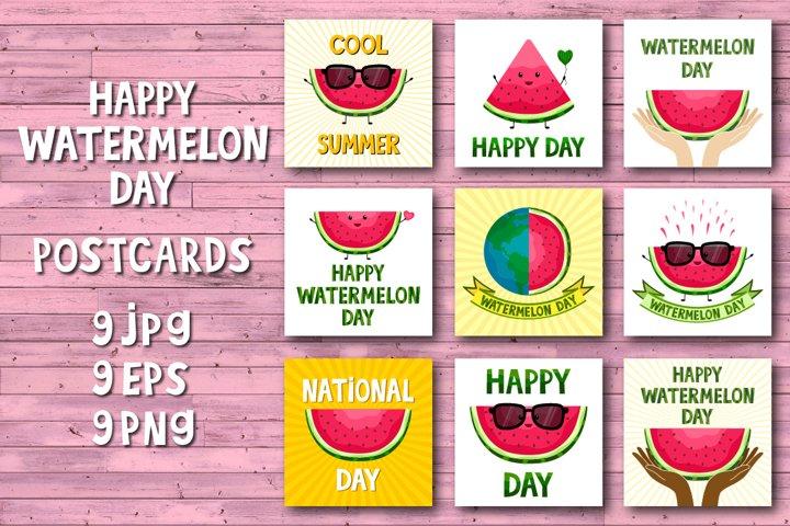 Watermelon day card PNG,watermelon kawai clipart,sublimation