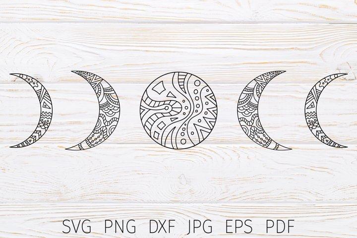 Moon phases svg cricut files. Crescent moon zentangle svg.