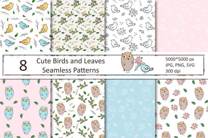 Cute Cartoon Birds and Florals Seamless Patterns