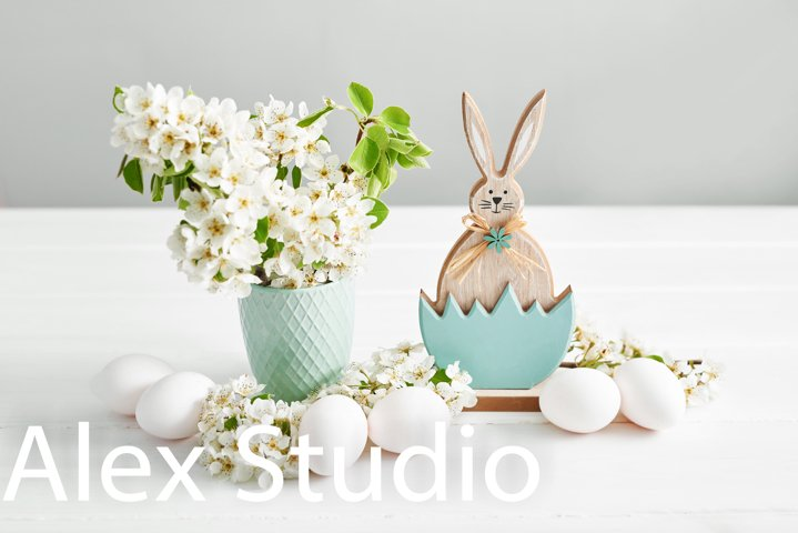 Easter bunny and White Easter eggs
