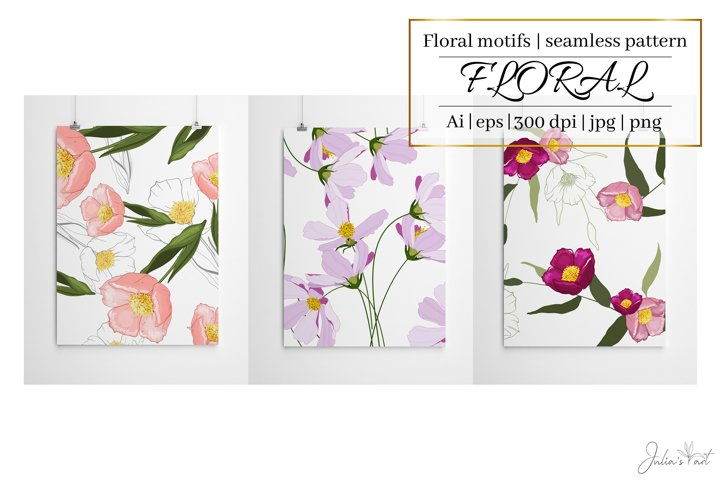 Pink flowers vector patterns - Ai, EPS, JPG, PNG