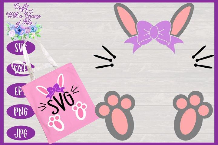 Easter Bunny SVG - Girl Monogram Basket & Shirt Design