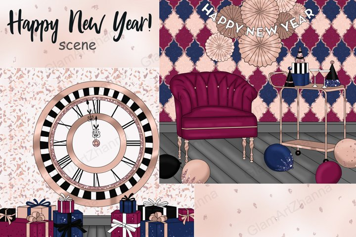 Happy New Year Rose Gold SCENE Weekend Planner Sticker PNG