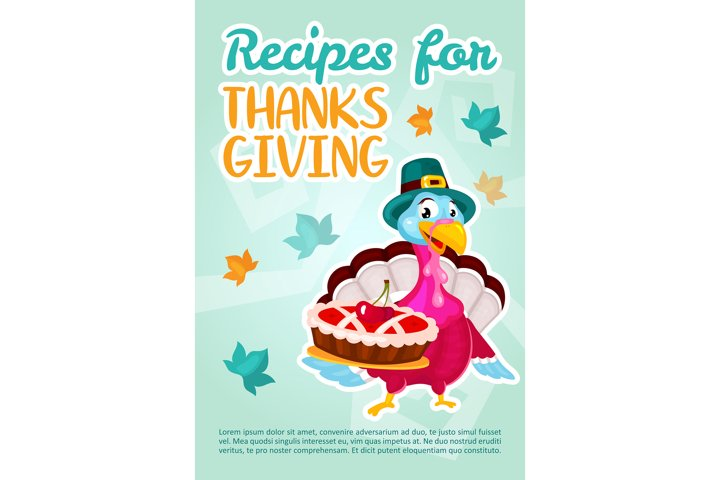 Recipes for Thanksgiving day poster vector template