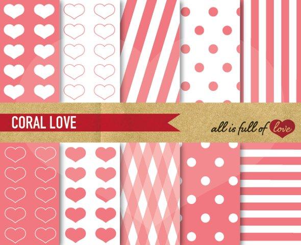 Coral Pink Patterns Valentines Day Digital Paper Pack