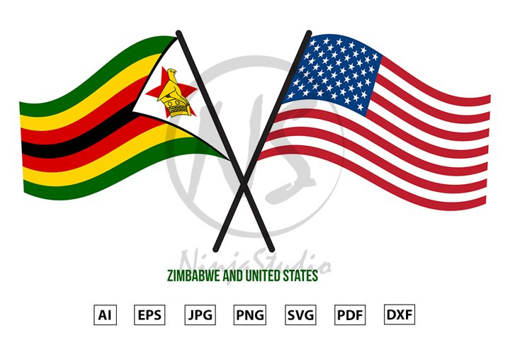 Zimbabwe and United States Flags Crossed And Waving