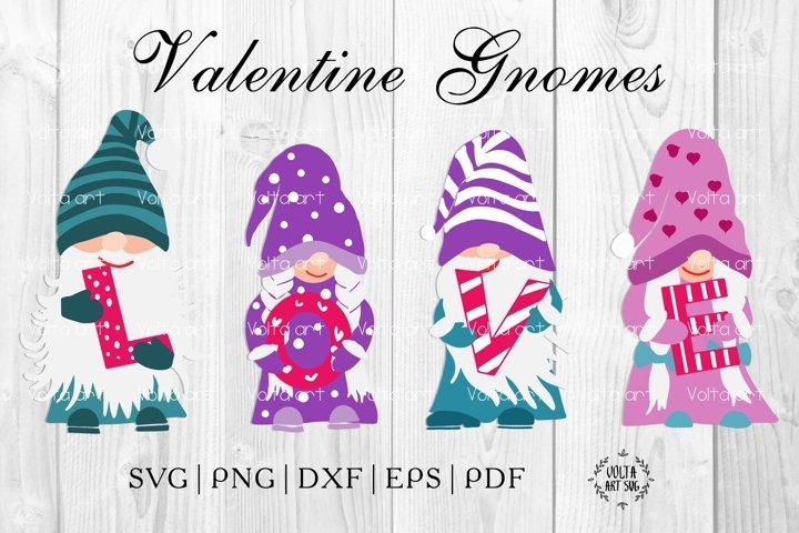Colorfull Gnomes love SVG. Valentines day svg.
