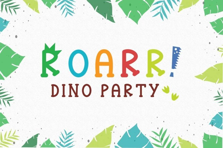 Roarr! dino party, a funny uppercase font