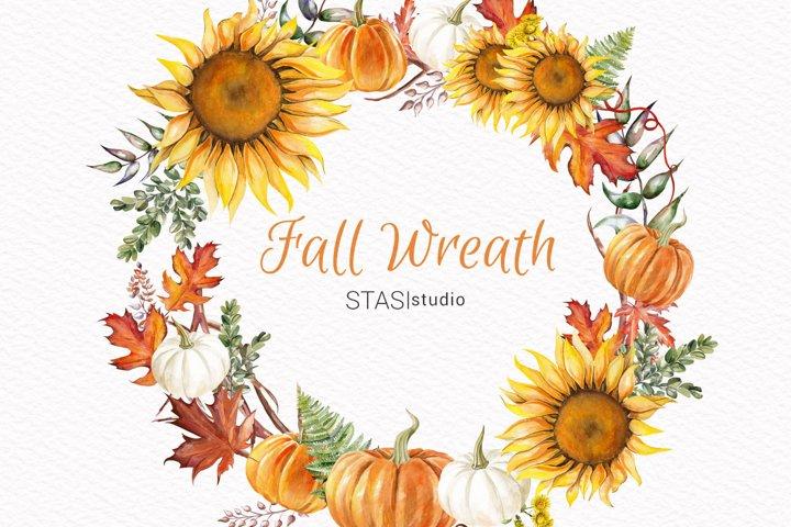 Thanksgiving Clipart, Fall Wreath, Handpainted Illustration,