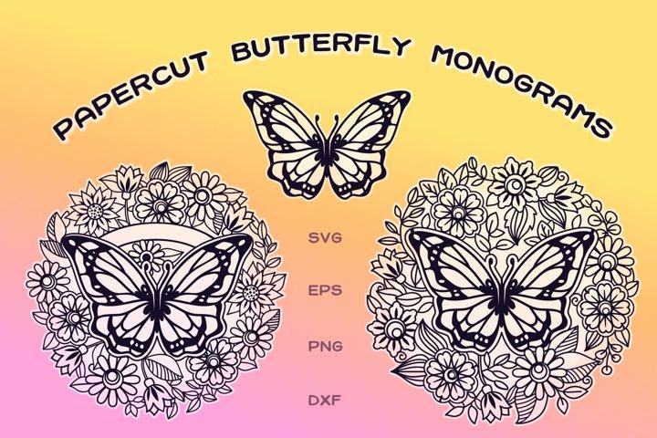 Papercut Butterfly Monograms | 3 SVG cut files
