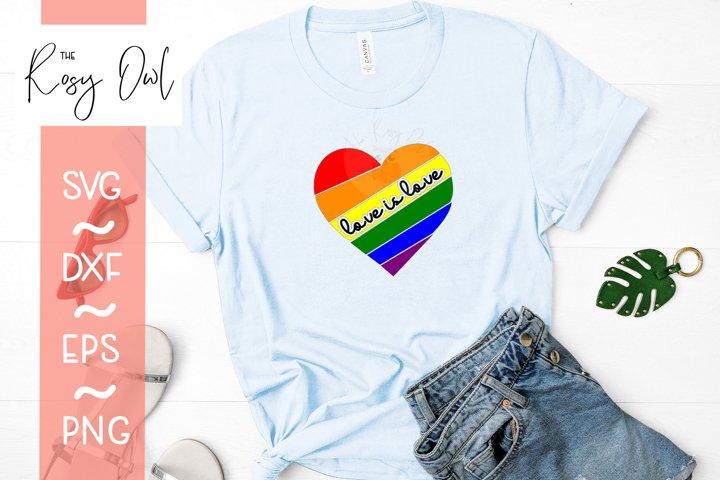 Love is Love/ Rainbow Heart Digital Cut File