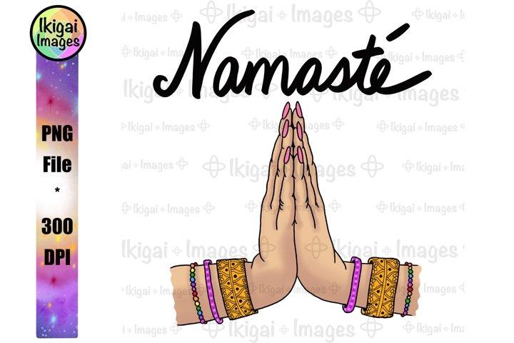 Namaste Praying Hands, Spiritual Clipart, Yoga Studio Art
