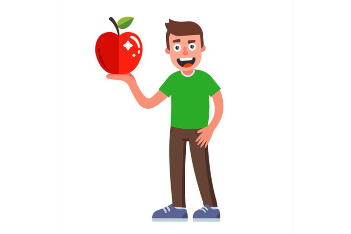 man with an apple in his hand. diet food for a vegetarian.