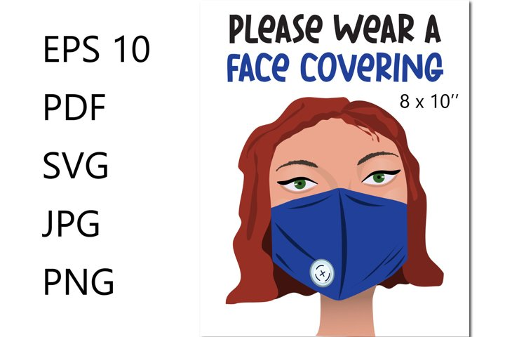 Please wear a face covering sign EPS, PDF, SVG, JPG, PNG