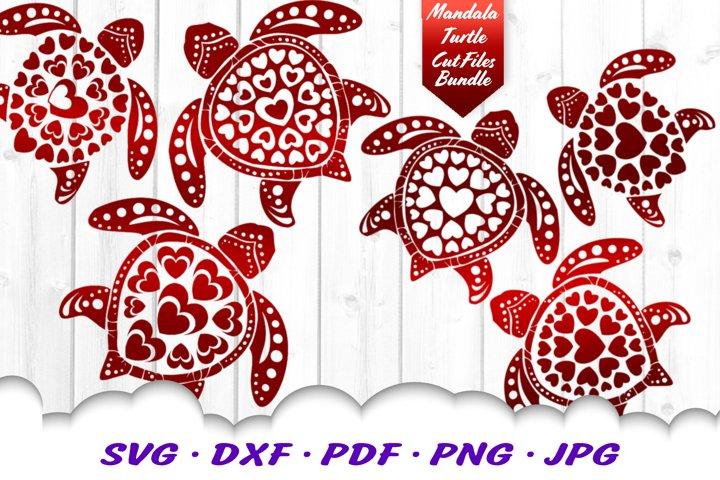 Valentines Mandala Sea Turtle Heart SVG DXF Cut Files Bundle