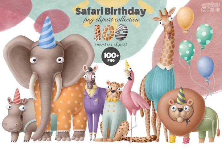 Safari birthday clipart bundle