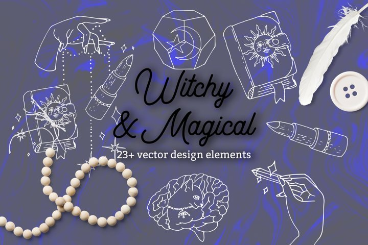 Witchy and Magical - vector line art clipart