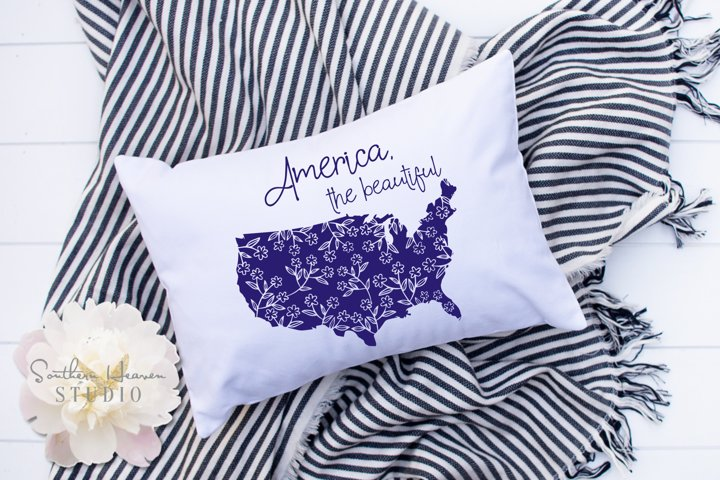 AMERICA THE BEAUTIFUL FLORAL - SVG, PNG, DXF and EPS